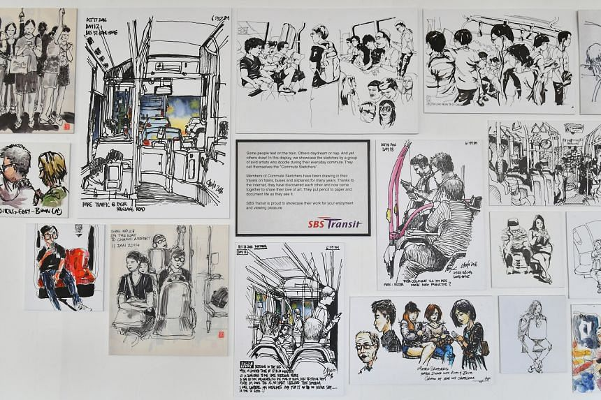 The bus interchange in Bishan is one of the display venues for the sketches (above), done during the artists' commutes.