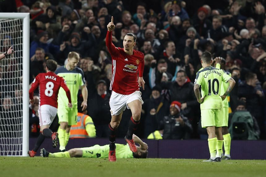 Manchester United striker Zlatan Ibrahimovic celebrates after scoring an equaliser against Liverpool. His joint league-leading 14th goal this season demonstrated all his athleticism, power and poise, as the Swede twisted in the air to get some unlike