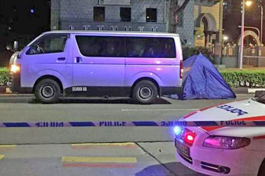The 53-year-old pedestrian was pinned under the van after she was knocked down at the junction of Victoria Street and Jalan Sultan on Wednesday night. The van driver was arrested for causing death by a rash act.