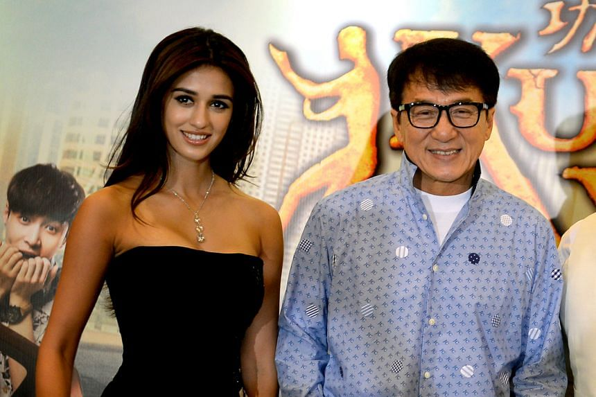 Disha Patani and Jackie Chan in Singapore to promote the movie Kung Fu Yoga.