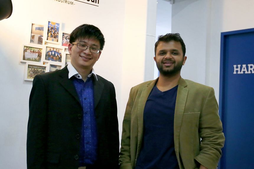 """Mr Chia (left) and Mr Pasari founded Cialfo in 2012 to """"solve some pain points"""" they faced as students. Their firm has been named by venture capitalists polled by The Straits Times as one of the hottest start-ups to watch this year."""