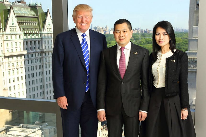 Mr Trump with MNC Group founder Hary Tanoesoedibjo and his wife Liliana at the signing ceremony for the Bali resort in New York in August 2015.