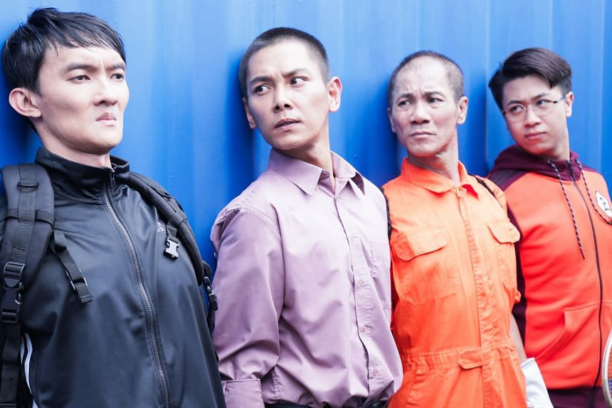 Director Ivan Ho (left) on the set of Take 2, which stars (below, from far left) Gadrick Chin, Ryan Lian, Wang Lei and Maxi Lim.
