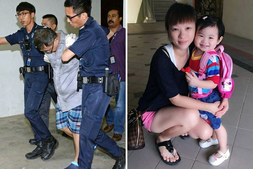 Far left: Police officers taking away Teo Ghim Heng, who is believed to be the dead woman's husband, in connection with the deaths. Left: Madam Choong, who went by the name of Ade Teo on Facebook, with her four-year-old daughter Zi Ning. The two were
