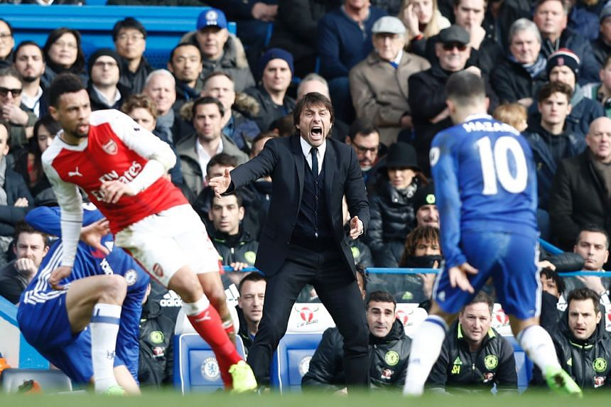 Chelsea manager Antonio Conte shouting to his players during the 3-1 win over Arsenal on Saturday. He has turned an underperforming team into near unbeatables in just over four months.