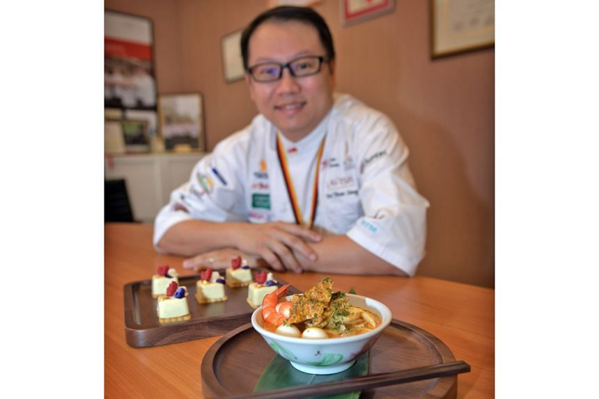 Mr Teo, who led a team to clinch a historic win for Singapore at the Culinary Olympics in Germany last October, is preparing dishes like laksa and satay for the 12 Singaporean of the Year award finalists at today's ceremony.