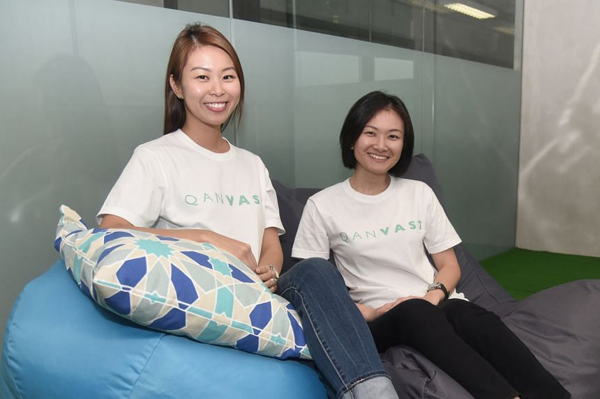 Ms Wang (left) and Ms Chen say Qanvast aims to link up home owners with a curated list of interior designers, while letting the designers showcase their work.