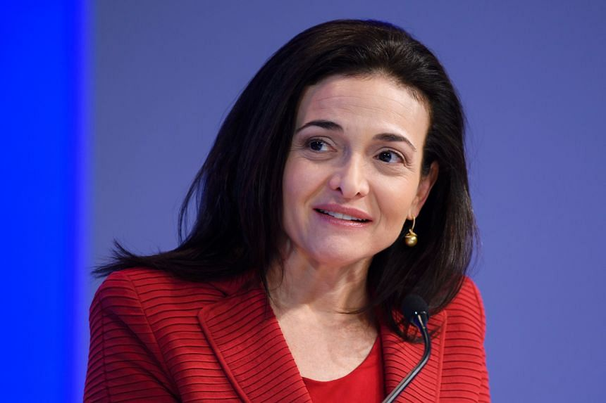 Ms Sandberg (above) pointed to her own experience to underscore the need for generous leave policies at Facebook (left).