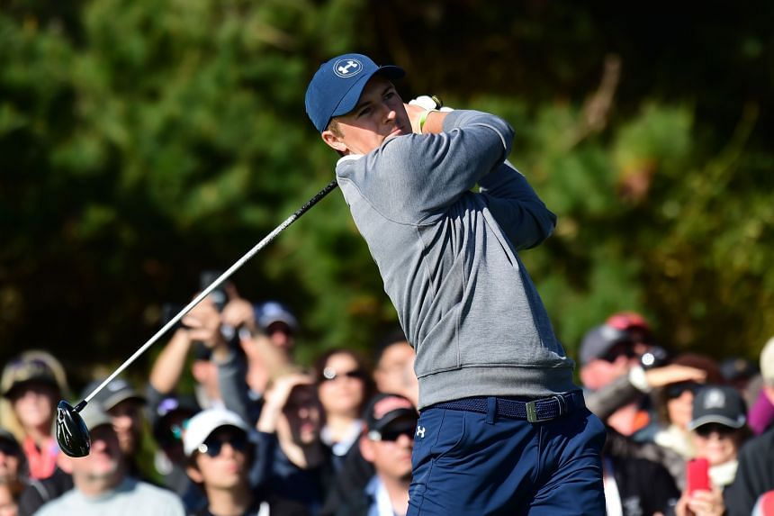 Jordan Spieth hitting his tee shot on the 11th hole in the third round at Pebble Beach. His putting was on target and with a six-shot lead, it was his tournament to lose heading into the final round.