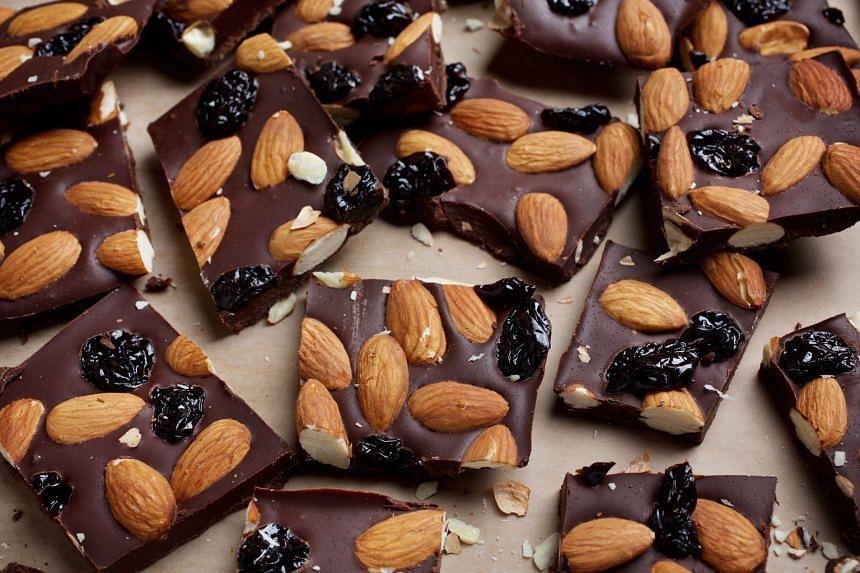Dark chocolate cherry almond bark
