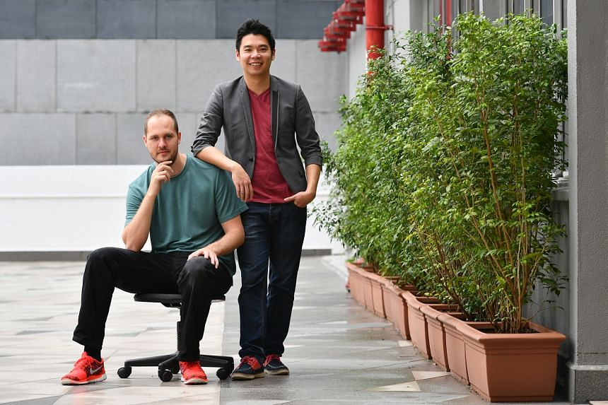 Chief technology officer Markus Haense (left), 32, is in charge of setting up PatSnap's R&D centre in Singapore. Mr Tiong, 33, started the company after working in IP analytics for a US company under an NUS overseas study scheme.