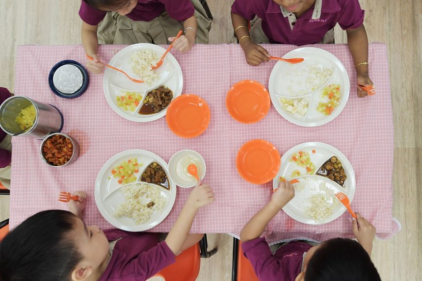 Lunch at TwinkleKidz@ Bendemeer. Among 33 pre-school centres involved in a trial, 26 have signed a year-long contract.