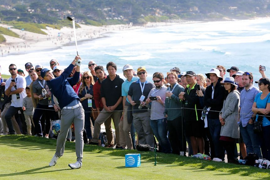 Jordan Spieth hitting his tee shot on the 14th hole in the final round of the Pebble Beach Pro-Am. The American had a commanding six-stroke lead at the start of the day and despite only two birdies, did enough to close out his ninth PGA Tour win by f