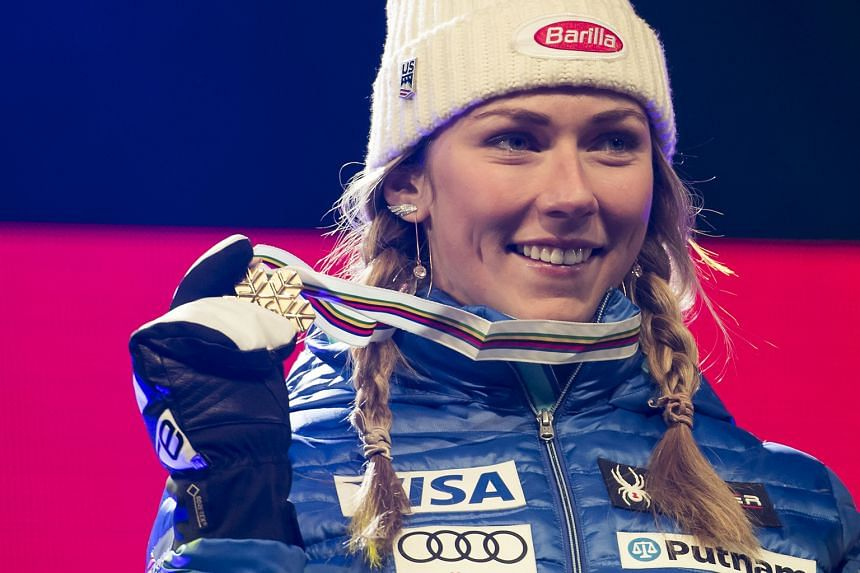 Mikaela Shiffrin of the United States celebrates her victory at the world titles in St Moritz, Switzerland on Saturday.