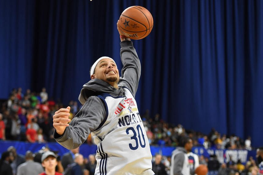 4501e621b598 Stephen Curry during an All-Star practice session on Saturday. LeBron James  of the