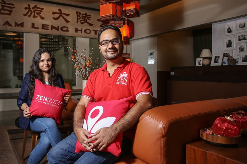 Co-founder Kiren Tanna (right) of Zen Rooms, seen here with country manager Shohita Choudhry, says he considers his business a full-fledged hotel chain and wants to compete for market share with the likes of Holiday Inn or Ibis Budget.