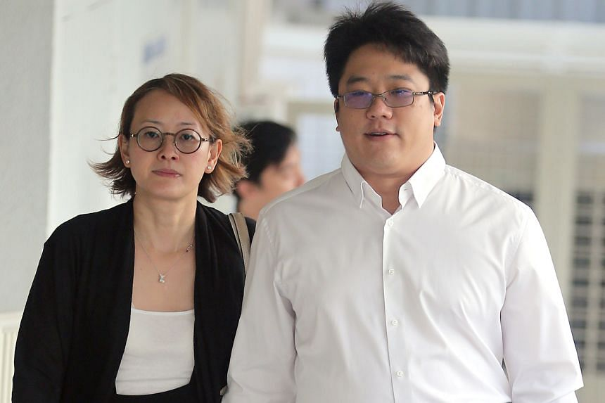 Ong and his wife arriving at the State Courts yesterday. Ong took the stand yesterday on the third day of his trial on two counts of engaging in a conspiracy with convicted drug offender Mohamad Ismail to traffic cannabis.