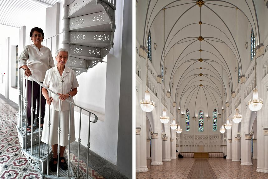 Above: The complex's chapel, which was deconsecrated when the convent moved to Toa Payoh in 1983. Left: Ms Wendy Louis and Sister Celine Low, proud alumnae of the old Victoria Street convent, on a spiral staircase that leads to Caldwell House, which