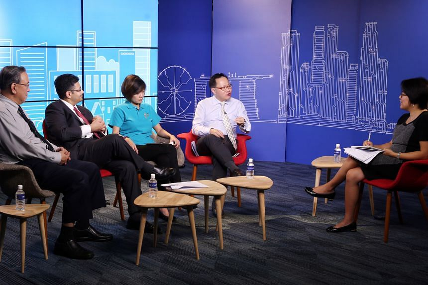 The Budget roundtable panel comprised (from far left) Mr Gerard Ee, Mr Nick Nash, Ms Cham Hui Fong and Mr Jimmy Koh, with moderator Lee Su Shyan.