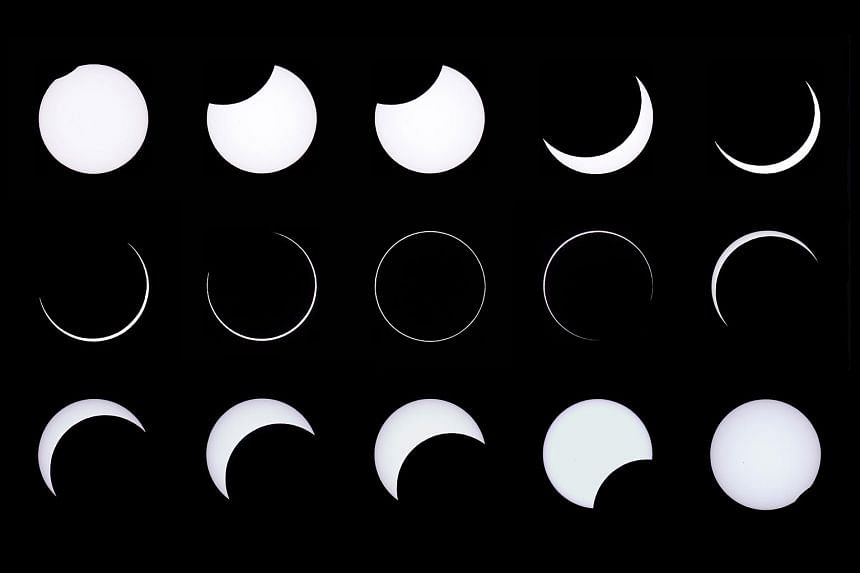This combination of photos shows the eclipse as seen from the Estancia El Muster, near Sarmiento, Argentina. At the height of the eclipse, the Moon is in the middle of the Sun, leaving a perfect ring of light around the edge.