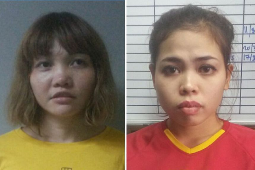 Suspects Doan Thi Huong (left) and Siti Aisyah are said to have smeared poison on Mr Kim Jong Nam's face.