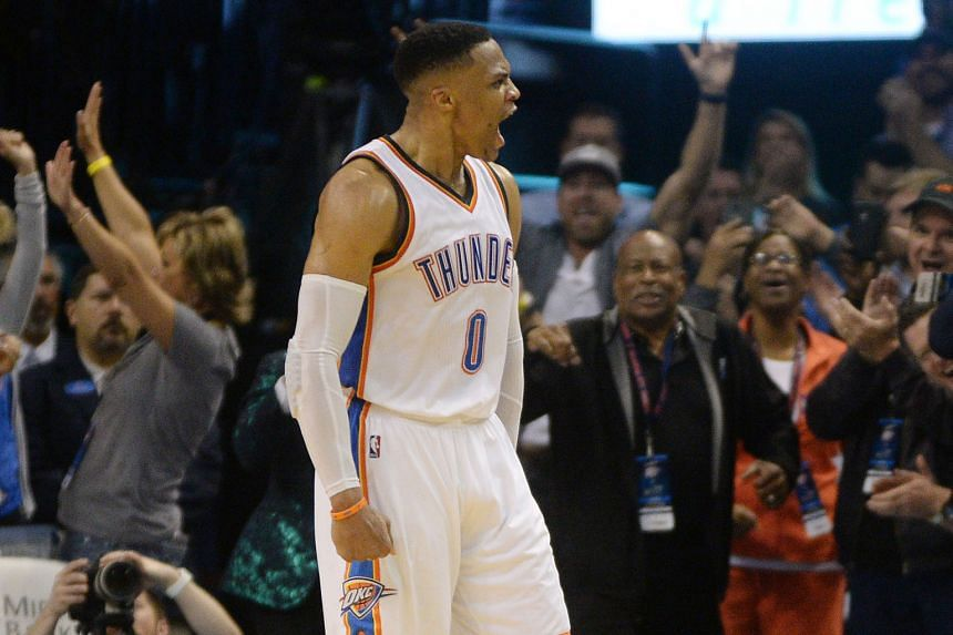 An angry Russell Westbrook after being fouled in the Thunder's win over the Jazz. He had 11 rebounds, slightly more than his game average this season as he aims to emulate Oscar Robertson's 1962 feat of averaging a triple-double for an entire season.