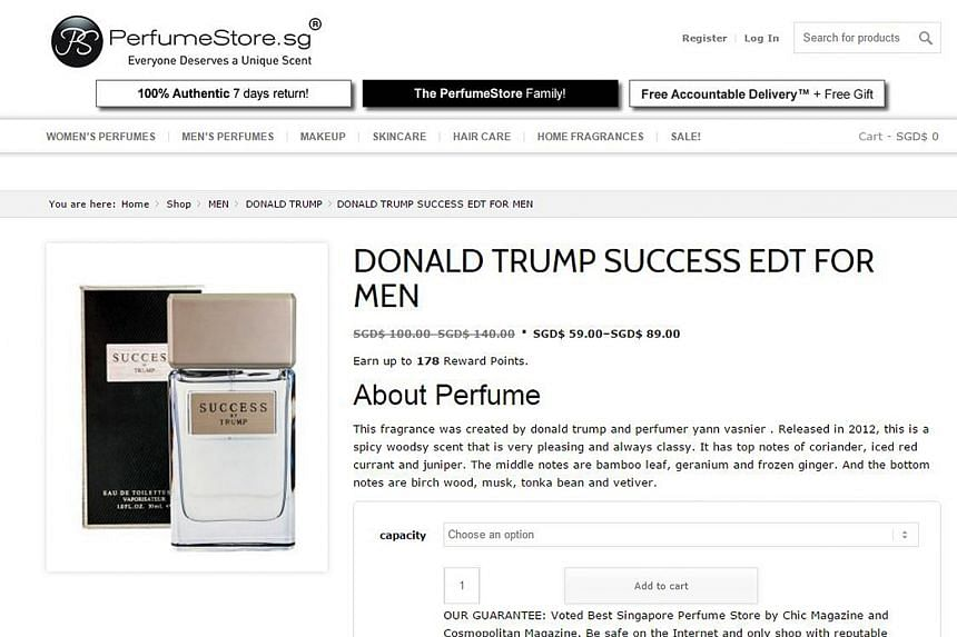 Online retailer Perfumestore.sg saw sales of Empire and Success fragrances jump 40 per cent since Mr Trump's inauguration.