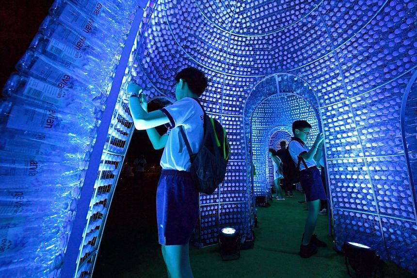 Ocean Pavilion, inspired by algae and radiolarians, is made from 25,000 recycled bottles and energy-efficient LED lighting. Admission to the Marina Bay waterfront is free, but charges apply for some attractions. The light installations are on from 7.