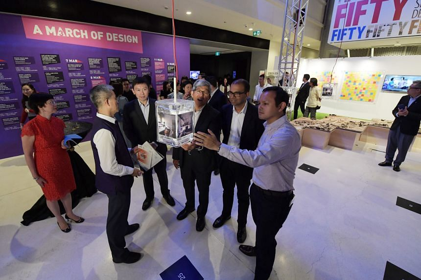 With Dr Yaacob (third from right) at the opening of this year's Singapore Design Week at the National Design Centre are (from left) Associate Professor Wong Yunn Chii, NUS department of architecture; Mr Chee Hong Tat, Minister of State, Ministry of C