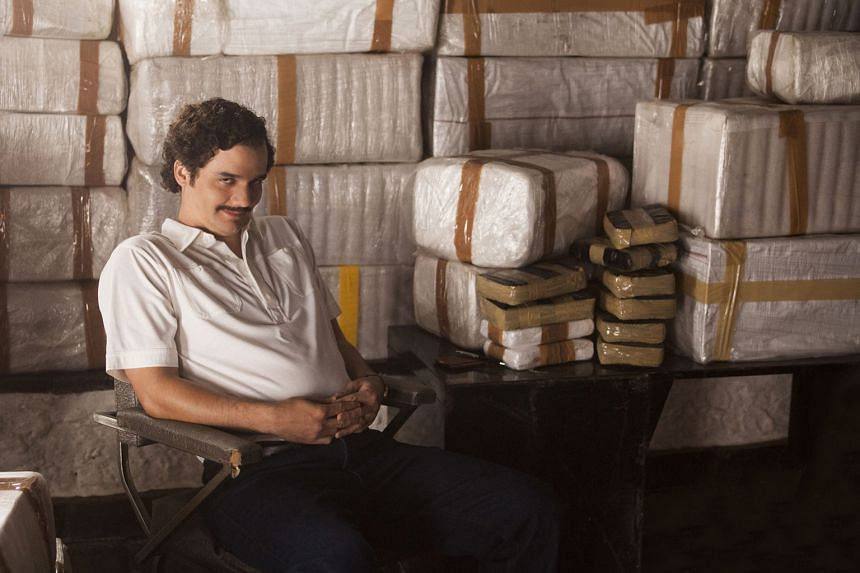 Mr Sebastian Marroquin criticises the Netflix series Narcos, which is based on his father, drug lord Pablo Escobar (played by Wagner Moura, above), for glamorising drug traffickers.
