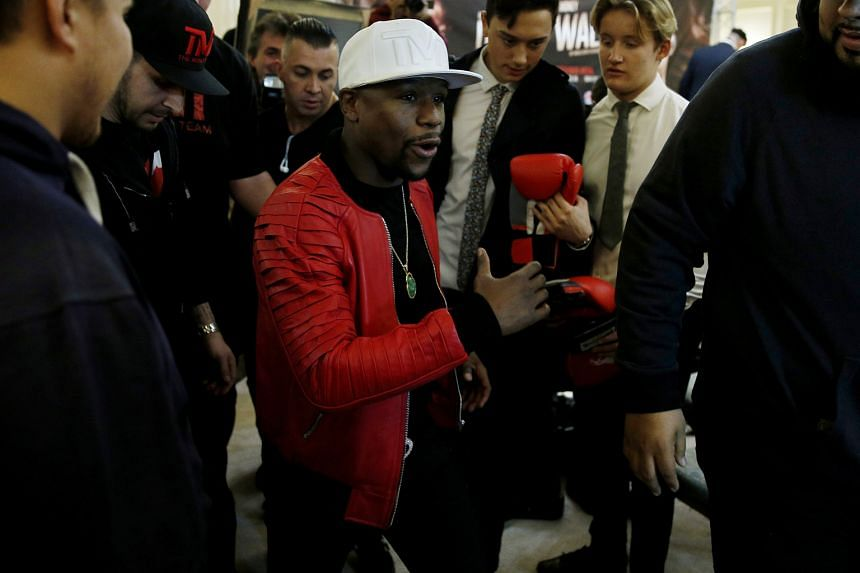 """American boxing great Floyd Mayweather following a press conference at Savoy Hotel in London. The 40-year-old, who retired from the sport in 2015, has been in Britain on his """"Undefeated"""" tour."""