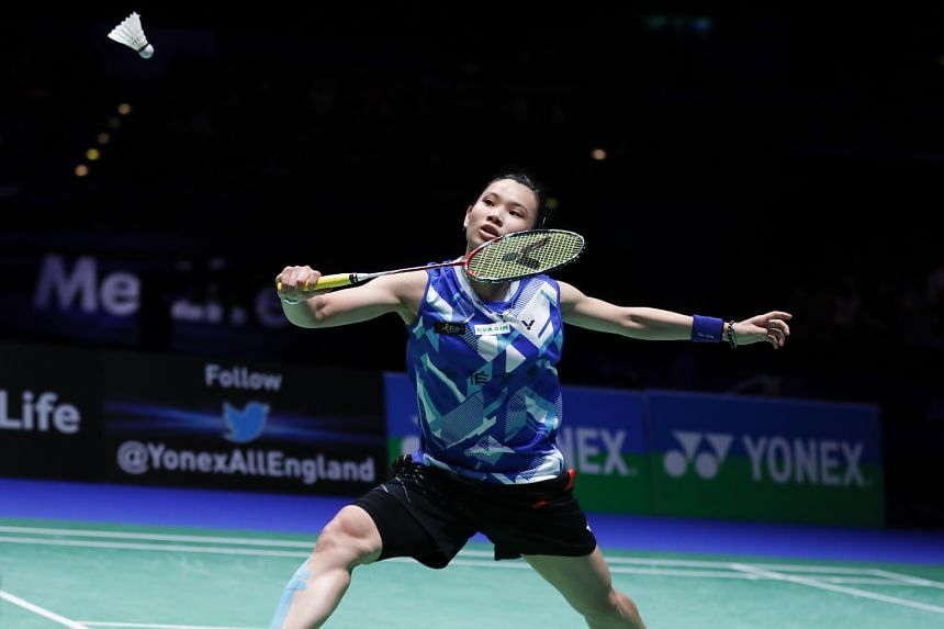 Tai Tzu-ying of Chinese Taipei in action during the singles final in the All-England Championships on Sunday. She defeated Thai former world champion Ratchanok Intanon 21-16, 22-20.