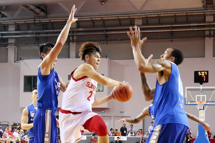 Slingers captain Desmond Oh going up for a basket against the Lions back in January. The two sides finished first and second respectively in regular season and on current form look good bets to make the finals.