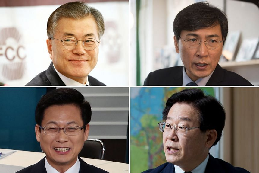 The main opposition Democratic Party's four contenders (from top) - former party chairman Moon Jae In, who is leading in polls with an approval rating of more than 36 per cent; South Chungcheong Governor An Hee Jung; Seongnam Mayor Lee Jae Myung; and