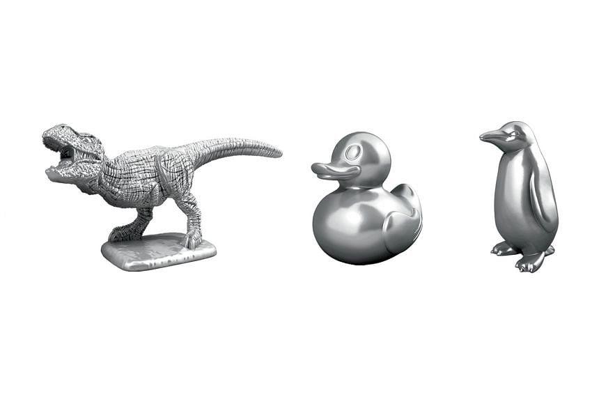 The Tyrannosaurus rex, rubber ducky and penguin will replace the boot, wheelbarrow and the thimble as tokens in the next Monopoly game.