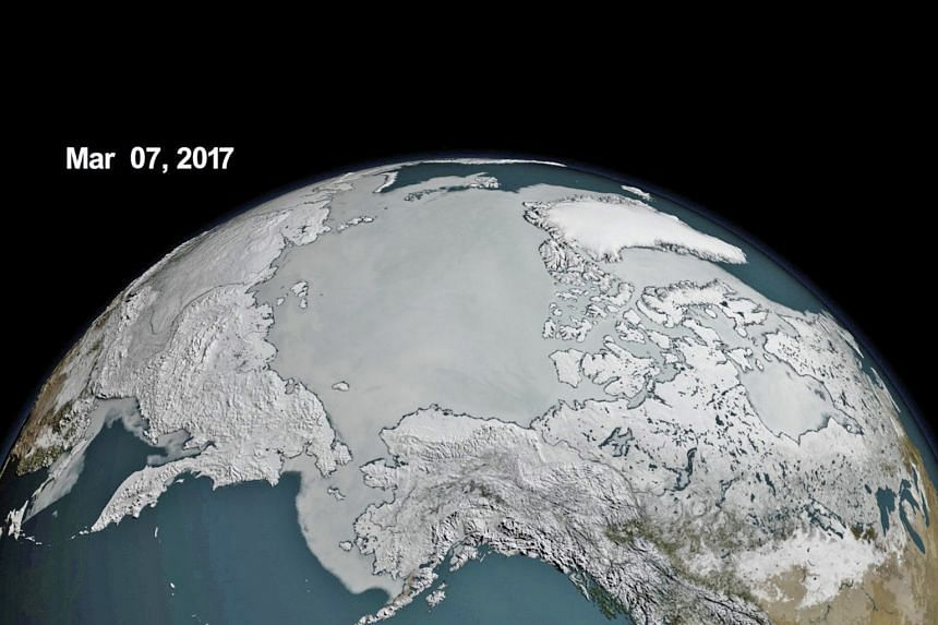 """The sea ice cover on the Arctic hit a record low for this time of year on March 7. The Arctic ice sheet should be at its biggest during the month of March, but on that day, the ice cover reached """"a record low wintertime maximum extent"""", the United St"""