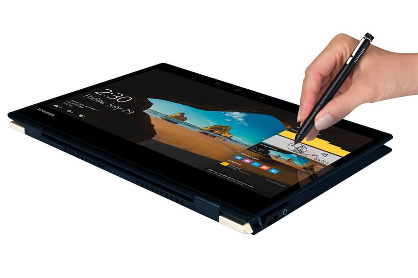 With the stylus of the Toshiba Portege X20W, users can vary the thickness of brush strokes by adjusting the amount of pressure.