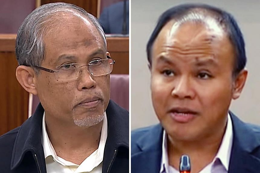 """Mr Masagos Zulkifli (left) said Mr Faisal Manap (below) """"dwells on issues that can injure or hurt the feelings of the community rather than inspire them"""". Mr Faisal had called for Muslim nurses and uniformed officers to be allowed to wear the tudung."""