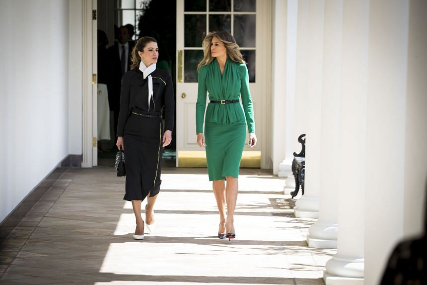 United States First Lady Melania Trump (right) and Jordan's Queen Rania at the White House on Wednesday, where their husbands, US President Donald Trump and King Abdullah II, held meetings. The women later visited Excel Academy, an all-girls charter