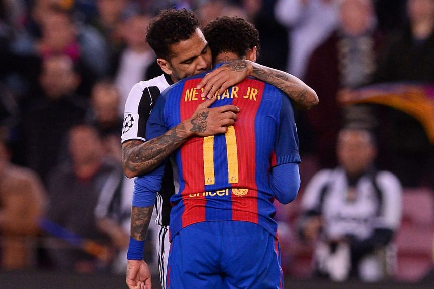 Barcelona forward Neymar being comforted by Juventus defender Dani Alves, his Brazilian compatriot, after the Italian side eliminated the Spanish giants 3-0 on aggregate when their quarter-final second leg ended goal-less at the Camp Nou stadium. Juv