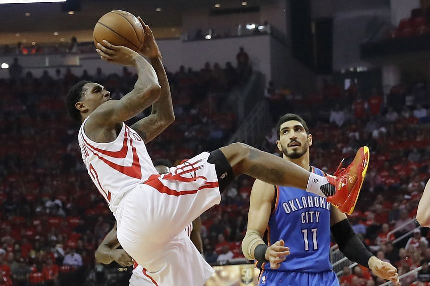 Houston's Lou Williams taking a shot while off balance, as Enes Kanter of Oklahoma City defends. The guard came off the bench to score 21 points, and the Rockets are up 2-0 in their Western Conference first-round play-off series after coming from beh