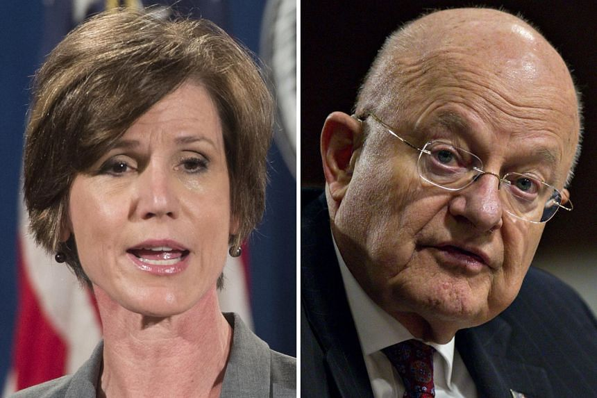 Ms Sally Yates and Mr James Clapper are scheduled to appear before the Senate Judiciary Committee today.