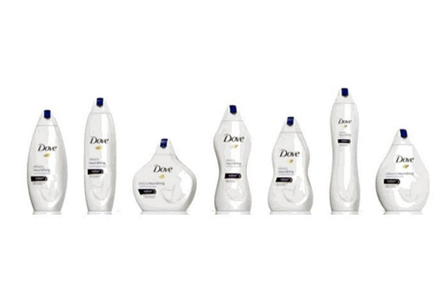 The shapes of the bottles in the advertisement include curvy, slender and pear-shaped.