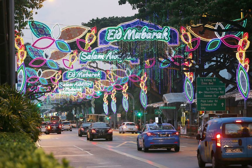A media preview of the annual Hari Raya Light-Up in Geylang Serai yesterday. This year's display will feature large installations based on motifs from traditional Malay culture, such as a 12m-wide kelong and 4.4m-tall traditional Kelantanese wau kite
