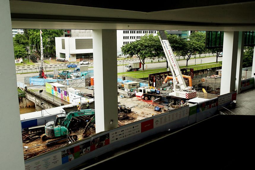 Above: Underpass construction work being carried out outside 18 Tai Seng retail centre.
