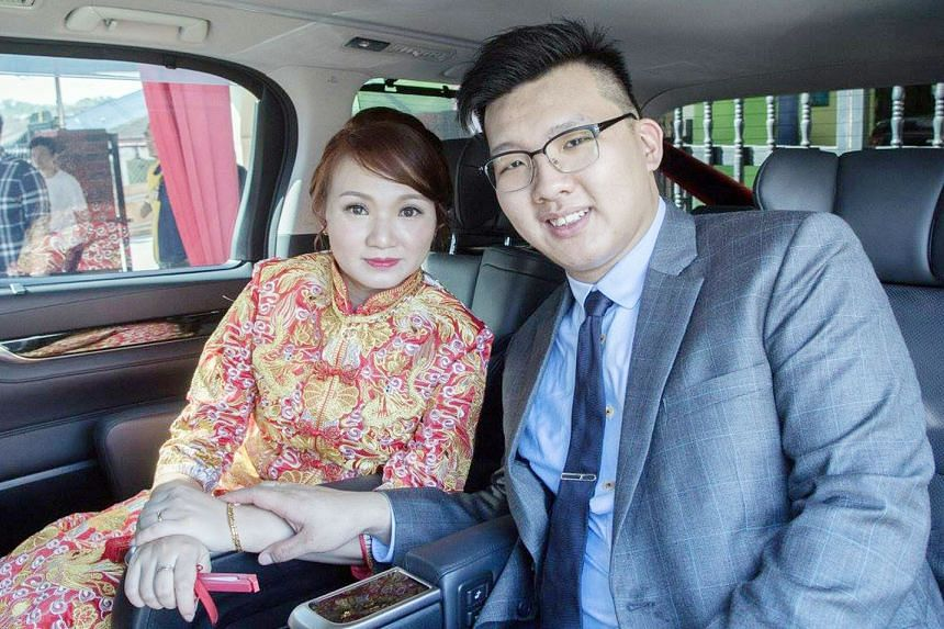 Ms Goh Chieh Ting, seen here with her husband Dave Yuen on their wedding day, was six months pregnant when she was hit by a lorry last Saturday.