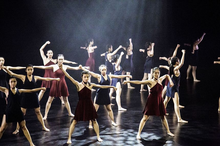 Ms Cheri Wee (far right, in maroon dress) initially studied dance at the School of the Arts, but in October, she will be pursuing a degree in psychology and philosophy at the University of Oxford.