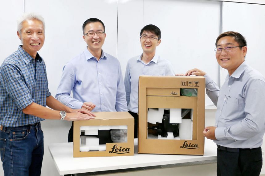 From left: Leica service engineer Dave Wong, with the company's head of global transportation and logistics Yip Ban Keat, and Fagerdala's executive director Raymond Chee and the company's key account manager Marvin Low. The firms' collaboration manag