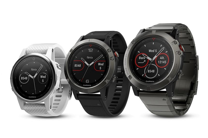 Garmin's new GPS running smartwatches - (from far left) Fenix 5S, Fenix 5 and Fenix 5X - use the QuickFit strap.