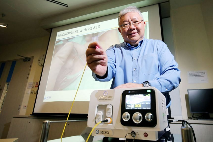 NUH Associate Professor Paul Chew with a micropulse laser probe used to perform the treatment he developed. There were almost no side effects reported by patients who underwent the new treatment.